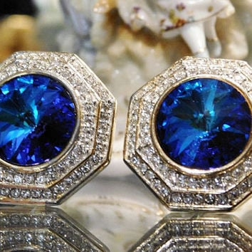 ST JOHN Designer Earrings Clip On Sapphire Blue Rivoli Headlight and Pave Crystals Vintage 1980s Runway Worthy Wedding Bride Bridal Prom
