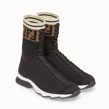 Fendi Black Canvas Sneakers