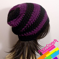 Slouchy Beanie Crochet Hat in Purple and Black