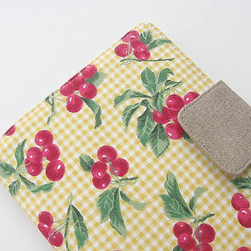 Kindle Fire Cover Nook Simple Touch Cover iPad Mini Kobo Cover Case Yellow Cherries Fruit Gingham Picnic eReader