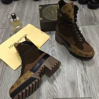 LV One Word With Flat Bottom High Boots Winter brown