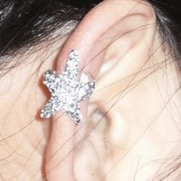 Starfish Sparkly Fashion Single Ear Cuff | LilyFair Jewelry