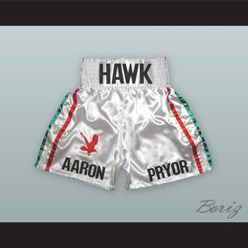Aaron 'The Hawk' Pryor White Boxing Shorts