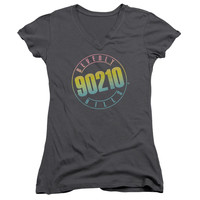 Beverly Hills 90210 Color Blend Logo Charcoal Womens V-Neck T-Shirt