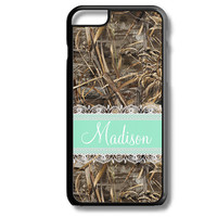 Mint Lace Camo Monogram iPhone 5S 5C 6/6S and Galaxy Custom Personalized Case Cover