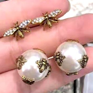 Free shipping-GUCCI Personality Women's Bee Pearl Earrings