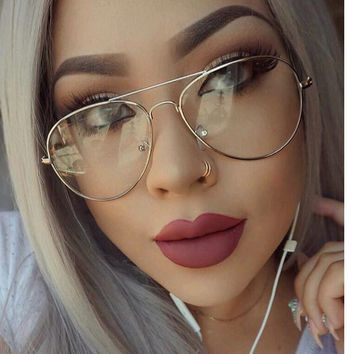 Clear Glasses Myopia Clear Frame Glasses Women Men Spectacle Frame Clear Lens Optical Clear Aviator Glasses Lunette Transparent