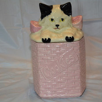 Mid Century McCoy USA Kitty in a Basket Cookie Jar