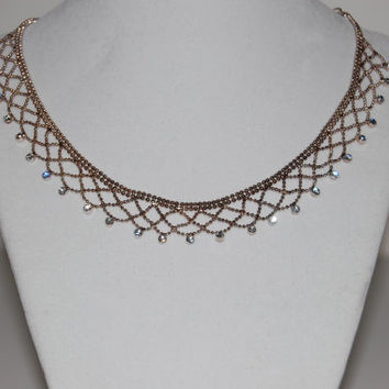 Vintage Silver Mesh Necklace with Rhinestones, Signed Givenchy, Costume Jewelry