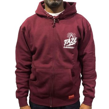 FAZE Logo Zip-up Hoodie in maroon