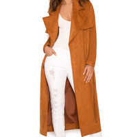 Clothing : Jackets : 'Perrita' Tan Suedette Trench Coat