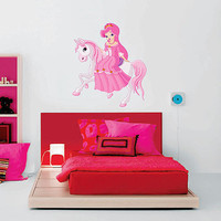 kcik496 Full Color Wall decal horse tale princess pink children's room