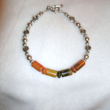 Earth toned Heishi column Beaded   Bracelet - jewelry, gift, handmade jewelry, beaded bracelet, OOAK, browns/orange and silver