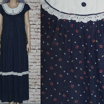 70s Maxi Dress Prairie Revival Floral Lace Boho Hippie Hipster Festival bohemian Ruffle XS S Navy Blue 60s Cotton Gypsy Eyelet