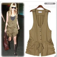 Weatern Fashion Casual Style Deep V-Neckline Sleeveless Short Jumpsuit China Wholesale - Sammydress.com