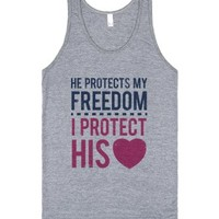 My Freedom, His Heart (Tank)-Unisex Athletic Grey Tank