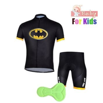 Children's Batman Cycling Jersey Wear Short Sleeves Cycling Set Kids Bike Clothing Ropa Ciclismo Cycling Clothing Sports Suit