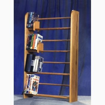 Wood Shed Solid Oak 4 Row Dowel DVD/VHS Rack