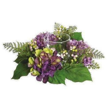 "16"" Decorative Artificial Purple and Green Hydrangea and Berry Hurricane Glass Candle Holder"