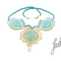 Awesome, braid soutache necklace with turquoises, sterling silver.