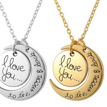 Fashion Gold Crescent Moon I Love You Necklace Jewelry