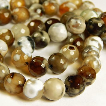 15 Inch Strand - 10mm Faceted Multicolor Agate Beads - Camel - Gemstone Beads - Jewelry Supplies