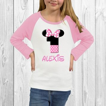 Custom Name and Age Girl Mouse Kids Raglan Shirt. 3/4 Sleeve Raglan. Infant Raglan. Toddler Raglan. Infant Shirt. Kids Raglan Tee