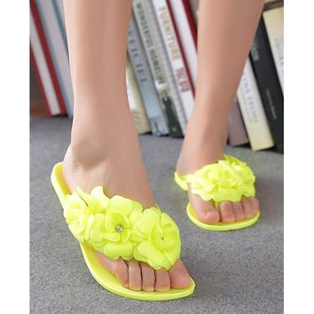 TEXU Summer style shoes for women Slippers New Flip Flops Women Sandals Female Sandals flower jelly sandals slippers yellow
