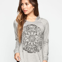 Full Tilt Medallion Womens Loose Fit Hoodie Heather Grey  In Sizes
