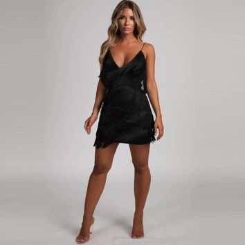 Shake it Tassel Black Mini Dress