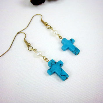 Easter Earrings Blue Turquoise Earrings Gemstone Earrings White Earrings Pearl Earrings Cross Earrings Religious Gypsy Jewelry