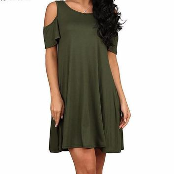 Women's Solid Hunter Green Casual Cold Shoulder Short Sleeve Butterfly Sleeve Shift Dress