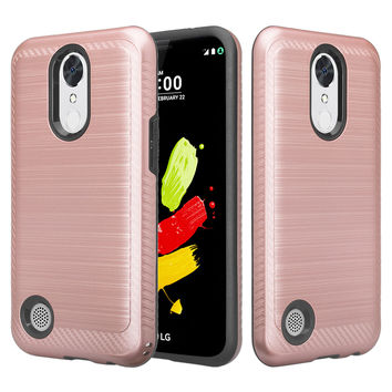 LG K4 (2017), Fortune, Phoenix 3, Aristo, LG Risio 2, K8 2017 Slim Hybrid EZ Grip Dual Layer[Shock Resistant] Metallic Brush Armor Case for K4 (2017) - Rose Gold