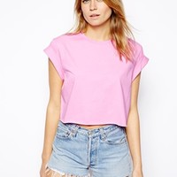 ASOS Cropped Boyfriend T-Shirt with Roll Sleeve
