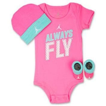 ONETOW Girls' Infant Jordan Always Fly 3-Piece Set