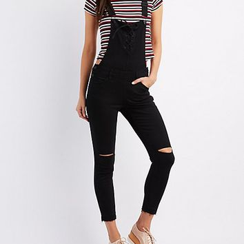Refuge Destroyed Lace-Up Overalls | Charlotte Russe