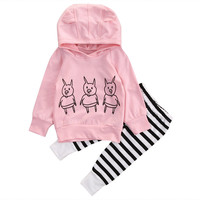 2016 New Cute Pigs Baby Girl Clothes Kids Sweatshirt Tops Striped Pants 2pcs Outfits Tracksuit Autumn Clothing Set 0-24M