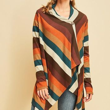 Multi Color Striped Cardigan (Rust)