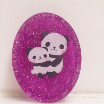 Kawaii Mother and Child Panda Resin Magnet Glitter