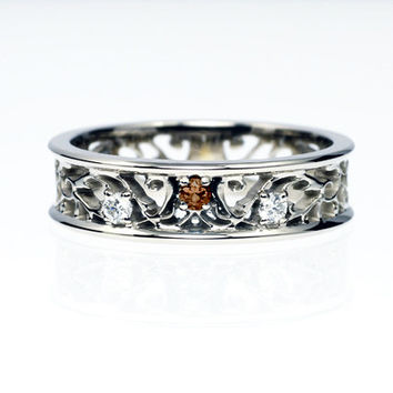 Brown diamond ring, filigree, white gold ring, diamond engagement, wedding ring, unique, vintage style, unique diamond ring, brown diamond