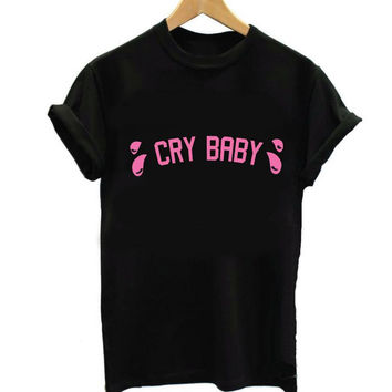Women T shirt Cry Baby Pink Letters Print Cotton Casual Funny Shirt For Lady Black Top Tee Hipster T-62