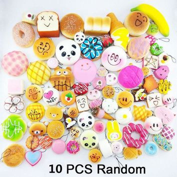 Squishy Mole Jumbo Panda Bread Ice Cream Donuts Straps Toy