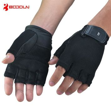 Brand Black Gloves Men Women Leather Wrist Fingerless Sport Gloves For Crossfit Dumbbell Weight Lifting Gloves AGB301