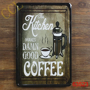 Free shipping retro metal painting kitchen coffee wall art , coffee metal sign for kitchen vintage wall decoration ,30x20cm