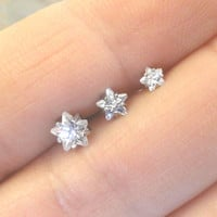 Set of 3 Crystal Star Triple Helix Stud Cartilage Earrings