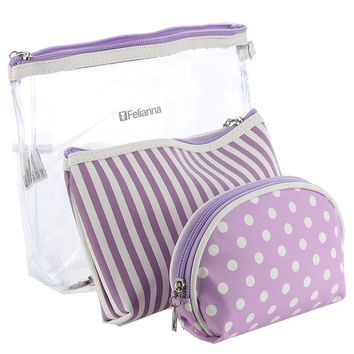 Felianna Purple 3 PC Vinyl w/ Wristlet Cosmetic Bag