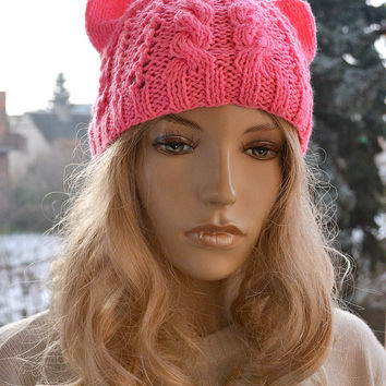 pink cat hat, Womens Hats, winter hat, Gift for her, Cap, Beanie, Gray woman hats, Womens cap, winter hat cat, warm accessories