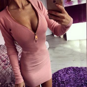 Zipper V-neck bodycon dress