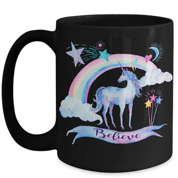 Unicorn Gift | Unicorn Mug | Unicorn and Rainbow | Believe | Unicorn Art | Gifts for Daughter | Wife Gifts | Mother's Day | Unicorn Spirit