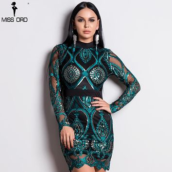 a67063290cde7 Missord 2019 Sexy Women Long Sleeve Sequin Backless Dresses